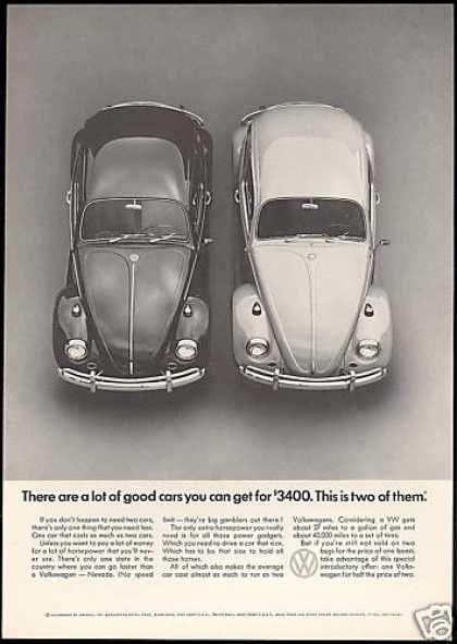 VW Volkswagen Bug Two Good Cars Photo (1967)