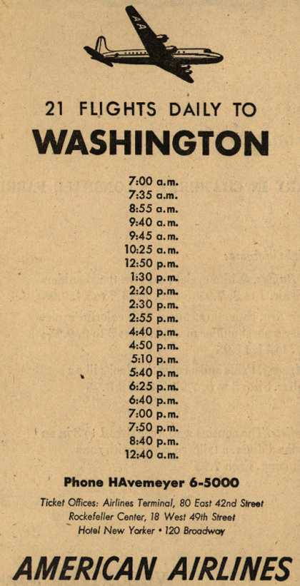 American Airline's Washington – 21 Flights Daily To Washington (1947)