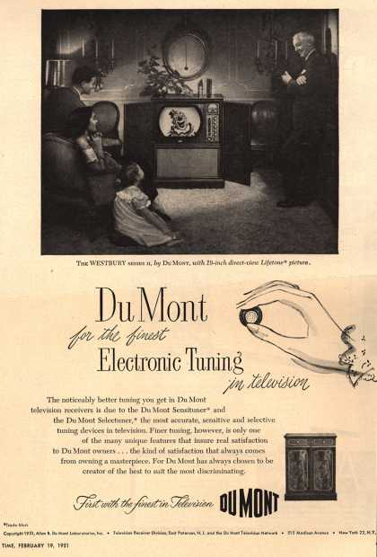Allen B. DuMont Laboratorie's The DuMont Westbury TV Console with SensiTuner – DuMont for the Finest Electronic Tuning in Television (1951)