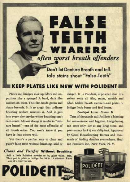 Hudson Product's false teeth powder (dentures) – False Teeth Wearers often worst breath offenders (1939)