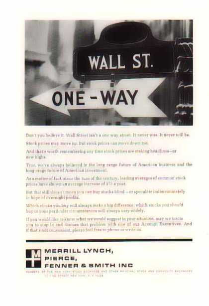 Merrill Lynch – One Way WALL ST. Sign – Sold (1967)