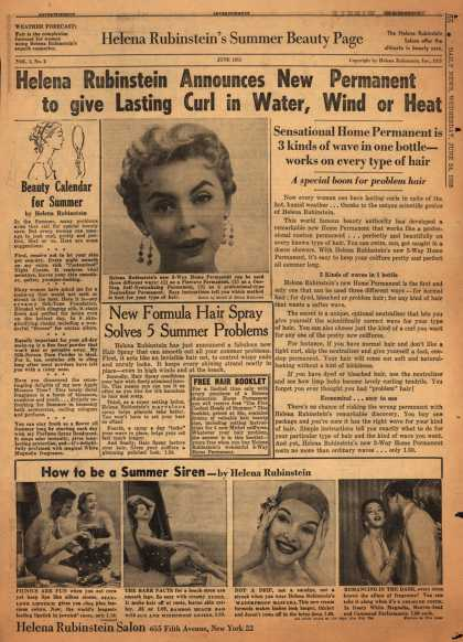Helena Rubinstein's Various – Helena Rubinstein Announces New Permanent to give Lasting Curl in Water, Wind or Heat (1953)