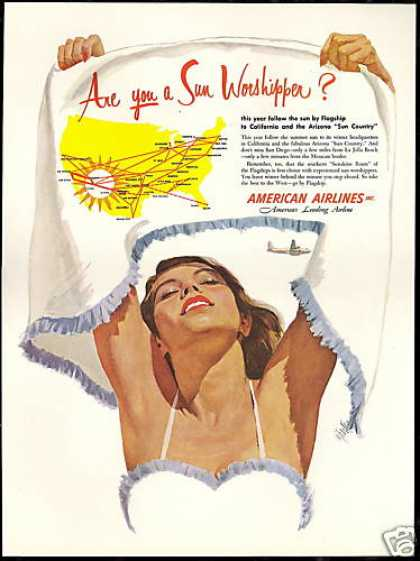 American Airlines Sun Worshipper Art System Map (1952)