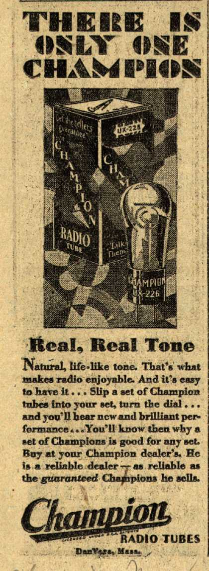 Champion's Radio Tubes – There is only one Champion (1929)