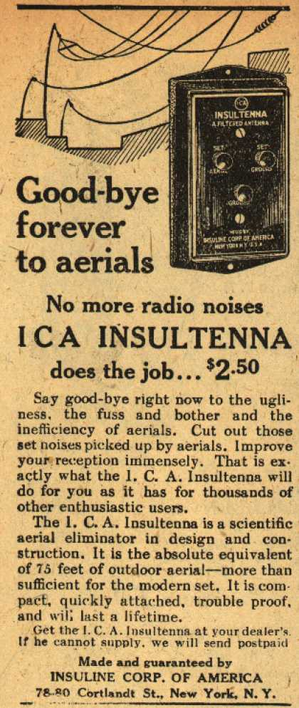 Insuline Corporation of America&#8217;s Insultenna &#8211; Good-bye forever to aerials (1930)