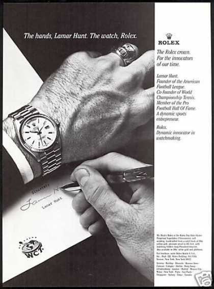Rolex Day Date Watch Lamar Hunt Hands Photo (1979)