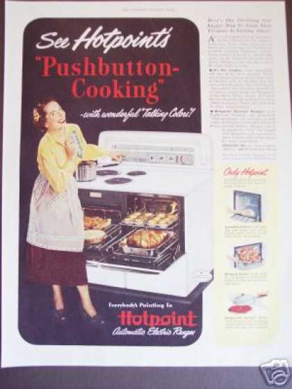 Hotpoint Pushbutton Stove Range 2 Ovens (1949)