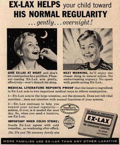 Ex-Lax – Ex-Lax Helps your child towards His Normal Regularity...gently...overnight (1958)