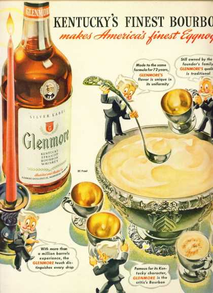 Glenmore Bourbon Whiskey Ad Egg Nog & War Bonds (1943)
