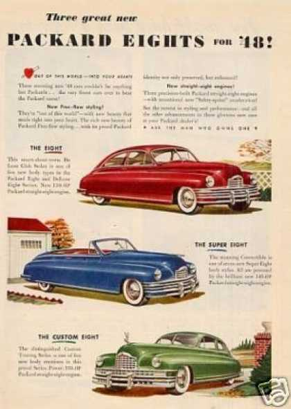 Packard Eight Cars Ad 3 Models (1948)