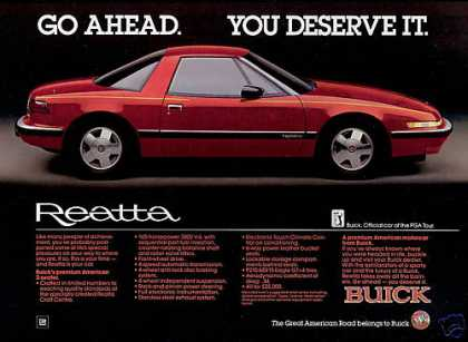 Red Buick Reatta Photo Vintage Car (1988)