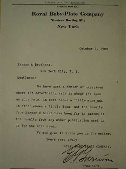 Royal Baby Plate Co Harper's letter of endorsement for advertising (1909)