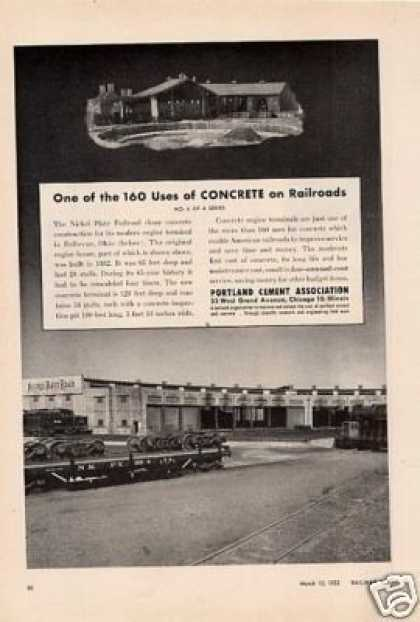 Portland Cement Ad Nickel Plate Roundhouse (1952)