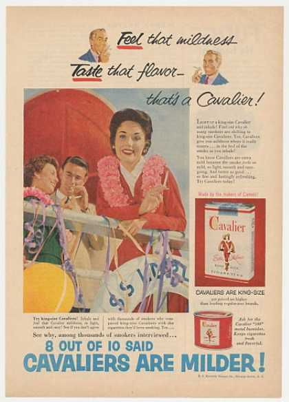 Cavalier Cigarette Milder Lady Smoking (1954)
