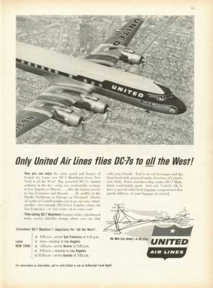 United Airlines Dc-7 Mainliner Plane In Flight (1955)