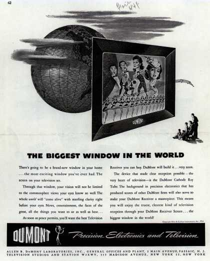 Allen B. DuMont Laboratorie's Corporate ad – The Biggest Window In The World (1944)