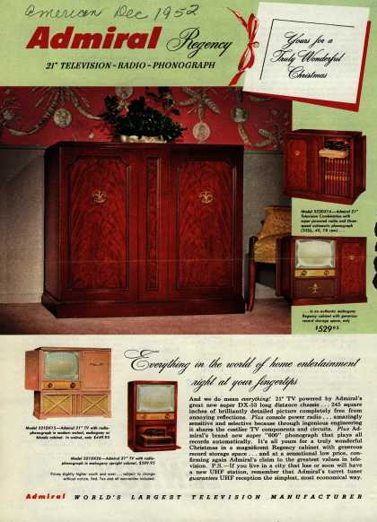 "Admiral Corporation's Television Combinations with 21"" TV – Admiral Regency 21"" Television – Radio – Phonograph. Yours for a Truly Wonderful Christmas (1952)"