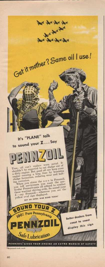 """Same Oil I Use"" Pennzoil Car Oil (1942)"