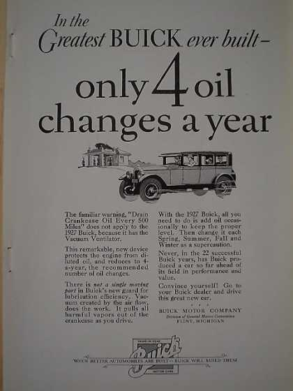 Greatest Buick ever build Only 4 oil changes a year (1926)