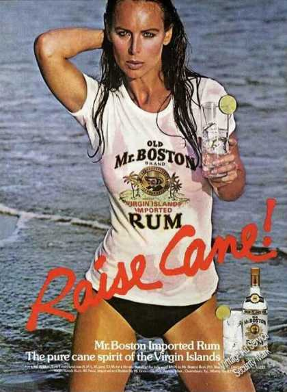 Old Mr. Boston Rum Pretty Girl In Wet T-shirt (1979)