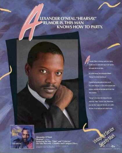 "Alexander O'neal Photos ""Hearsay."" Album (1987)"