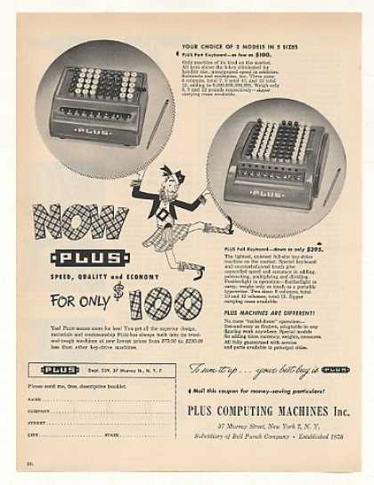 Plus Computing Part Full Keyboard Add Machines (1949)