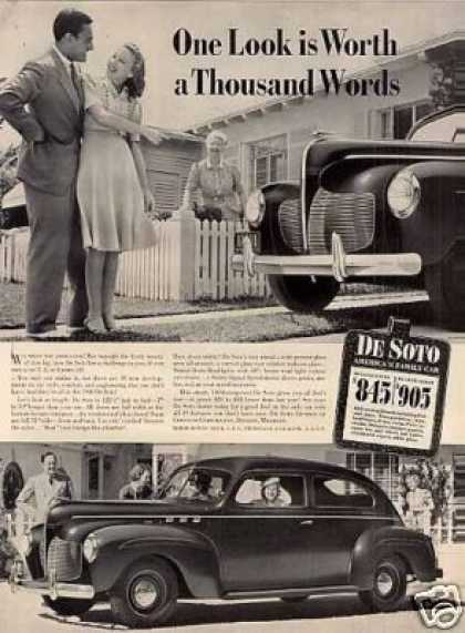 "Desoto Car Ad ""One Look Is Worth... (1940)"