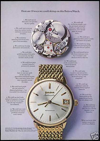 Bulova Ambassador Watch 19 Ways Could Skimp (1968)