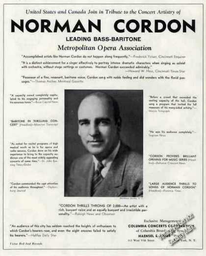 Norman Cordon Metropolitan Opera Trade (1941)