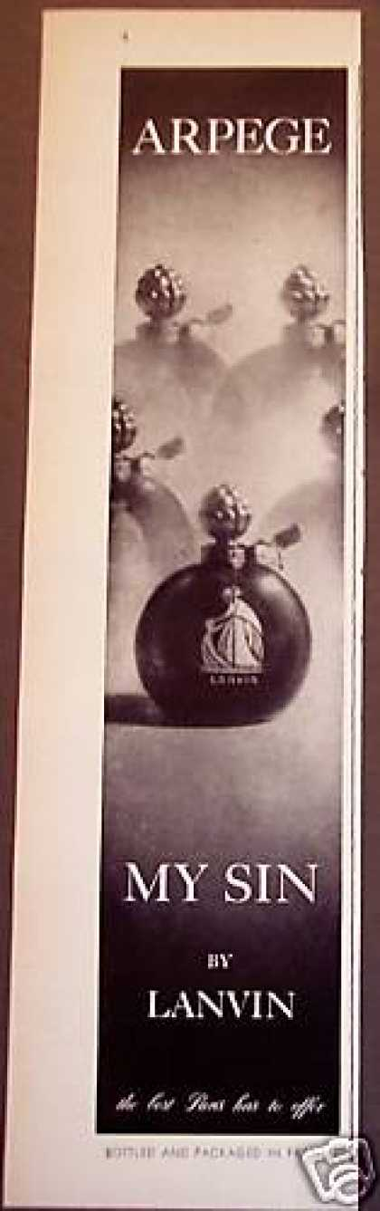 Arpege My Sin By Lanvin French Perfume (1956)