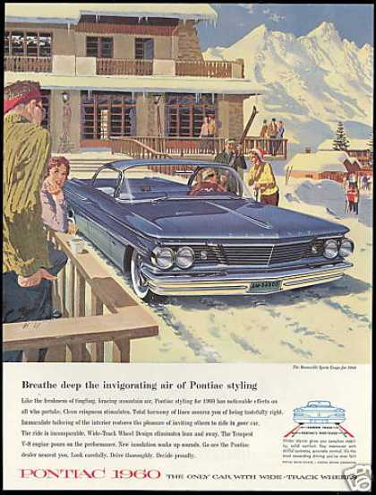 Pontiac Bonneville Car Snow Ski Lodge AF VK Art (1960)