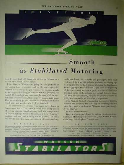 Watson Stabilizers Smooth as stabilized motoring (1928)