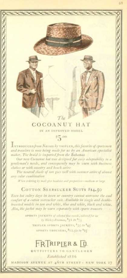 Madison Avenue Fr Tripler Cocoanut Hat (1945)