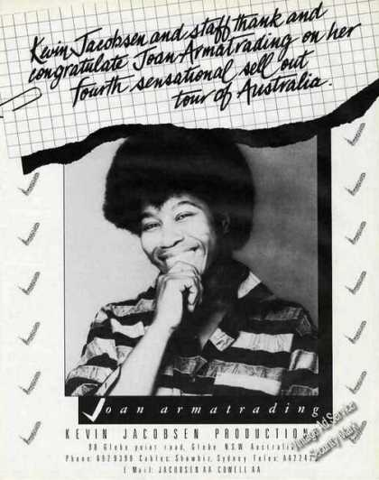 Joan Armatrading Photo Australia Thank You (1985)