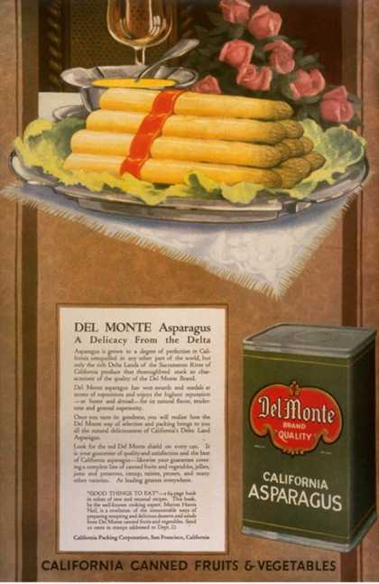 Del Monte, Asparagus, California Vegetables, USA (1920)