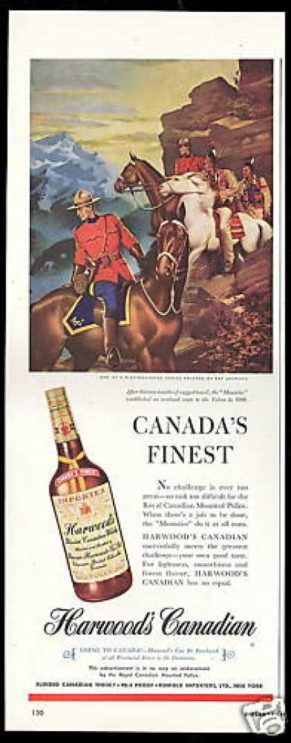 Harwoods Canadian Whiskey RCMP Mounties 1898 (1949)