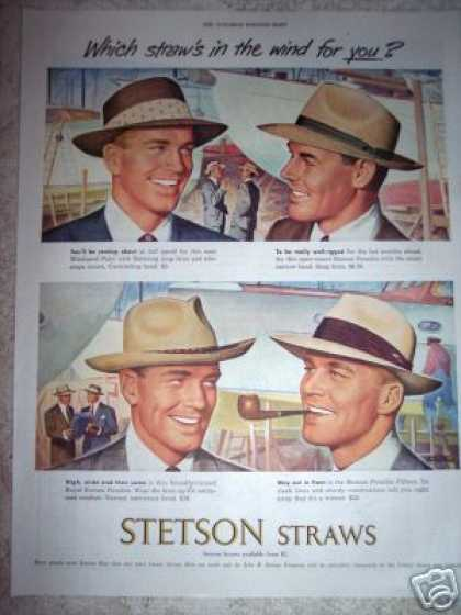 Stetson Straws Hats Shipyard Art (1949)