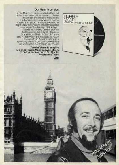 "Herbie Mann Photo ""London Underground"" Album (1974)"