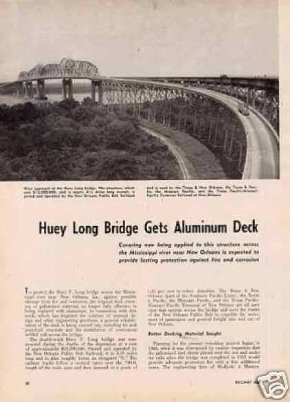 """Huey Long Bridge Gets Aluminum Deck"" Article (1950)"