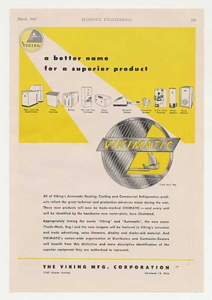 Viking Vikimatic Trade Mark Heating Cooling (1947)