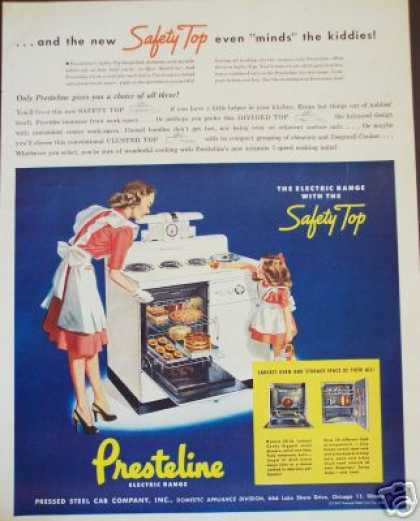 Presteline Safety Top Kitchen Range Stove Art (1947)