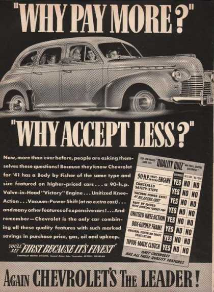 Again Chevrolets the Leader In Cars (1941)