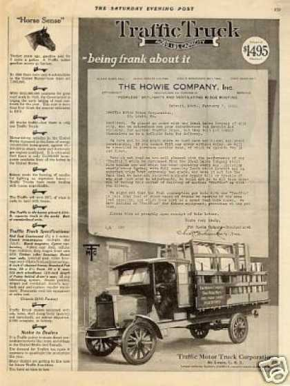 Traffic Truck Ad Howie Company (1920)