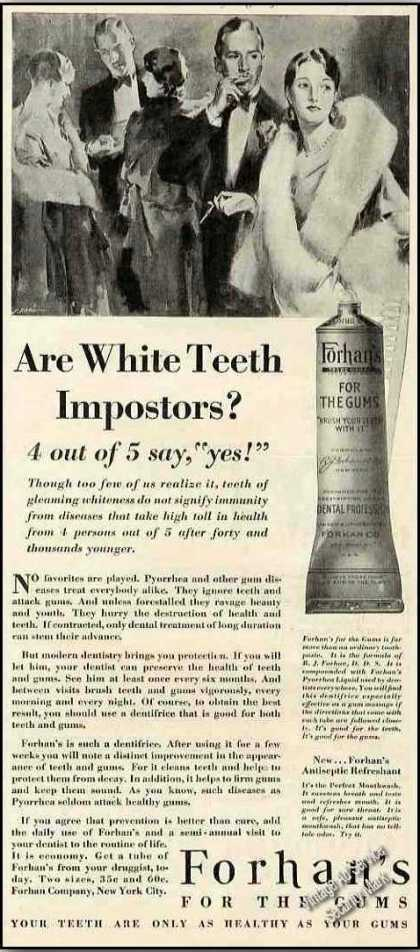 Forhan's for the Gums Antique Tooth Paste (1929)