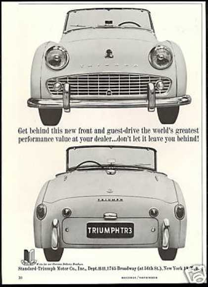 Triumph TR-3 TR3 2 Photo Vintage Print Car (1959)