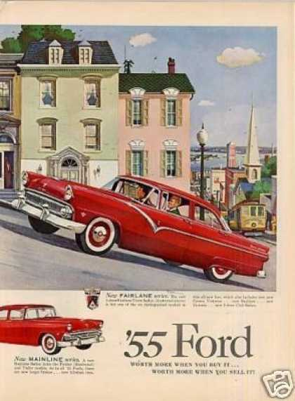 Ford Cars Ad 2 Page (1955)