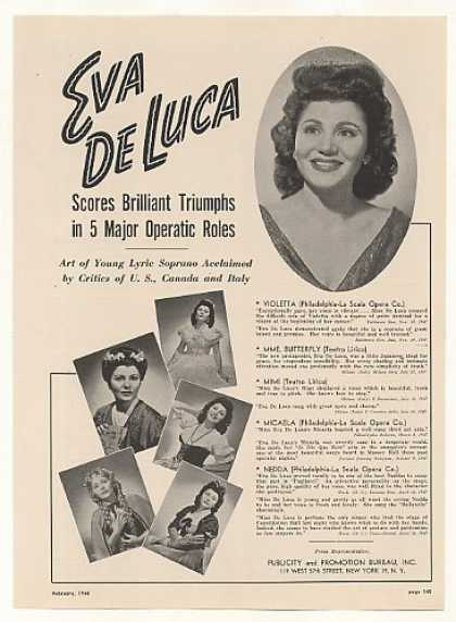 Soprano Eva De Luca Photo (1948)