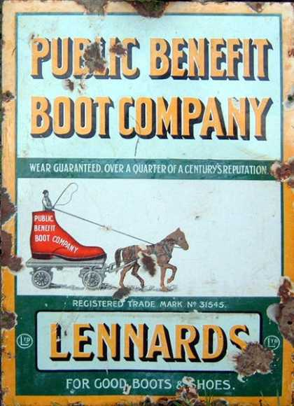 Public Benefit Boot Company Old Sign