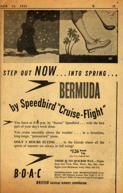 "British Overseas Airways Corporation's Bermuda – STEP OUT NOW... INTO SPRING... BY SPEEDBIRD ""CRUISE FLIGHT"" (1948)"