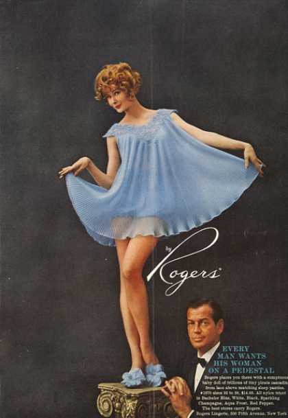 Rogers Fashion Baby Doll Ad Woman On Pedestal (1959)